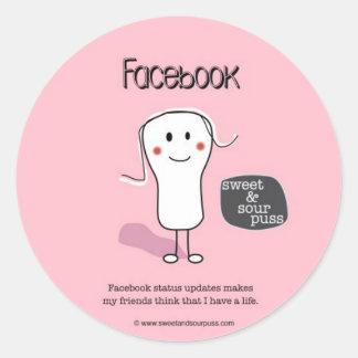 SSPG90-Facebook Status Updates Sweet and Sour Puss Round Sticker