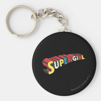 SSupergirl Colourful  Logo Basic Round Button Keychain