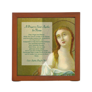 St. Agatha (M 003) with Prayer for Nurses Desk Organizer