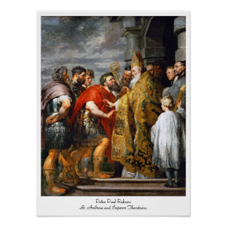 St. Ambrose and Emperor Theodosius  Paul Rubens Poster