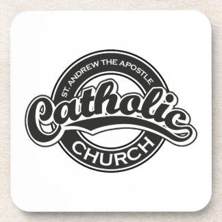 St. Andrew the Apostle Catholic Church Black Beverage Coaster