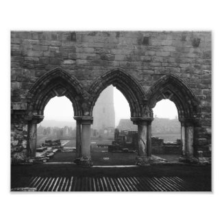 St Andrews Cathedral Arches in Fog Black and White Art Photo