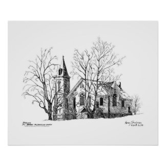 St. Andrews Presbyterian Church Pen and Ink Poster