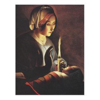 St Anna avec le bébé Jésus par les grands maîtres Carte Postale