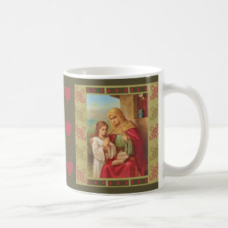 St. Anne Virgin Child Mary Grandmother Hearts Coffee Mug