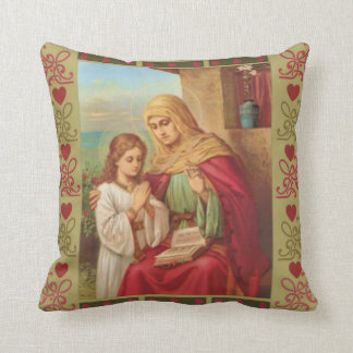 St. Anne Virgin Child Mary Grandmother Hearts Throw Pillow