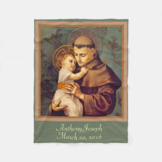 St. Anthony & Baby Jesus PERSONALIZE Fleece Blanket
