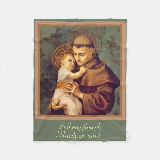 St. Anthony & Baby Jesus PERSONALIZE Fleece Blanket