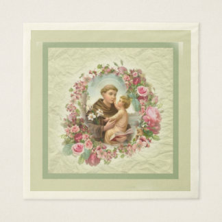 St. Anthony Baby Jesus Pink Roses Wreath Paper Napkin