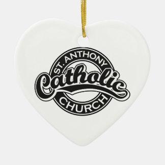 St. Anthony Catholic Church Black Ceramic Ornament