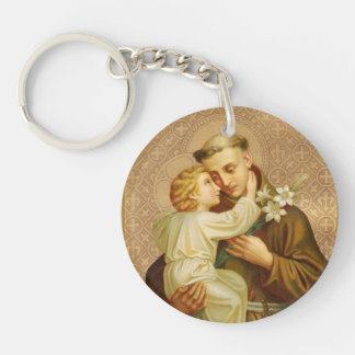 ST. ANTHONY HOLDING CHILD JESUS LILY Single-Sided ROUND ACRYLIC KEYCHAIN