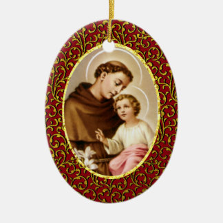 St. Anthony of Padua Personalize Background Color Ceramic Oval Ornament