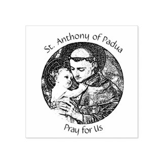 St. Anthony of Padua with Baby Jesus Rubber Stamp