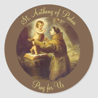 St. Anthony of Padua with Baby Jesus Scripture Round Sticker