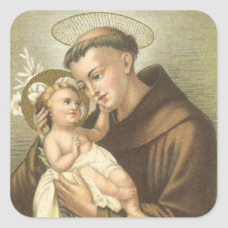 St. Anthony of Padua with Baby Jesus Square Sticker