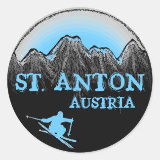 St. Anton Austria blue skier stickers