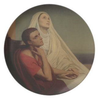 St. Augustine and his mother St. Monica, 1855 Party Plates