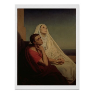 St. Augustine and his mother St. Monica, 1855 Poster