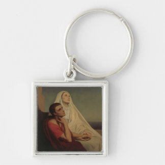 St. Augustine and his mother St. Monica, 1855 Silver-Colored Square Keychain