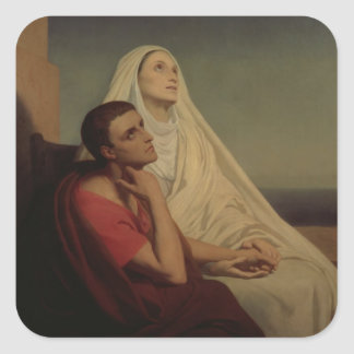 St. Augustine and his mother St. Monica, 1855 Square Sticker
