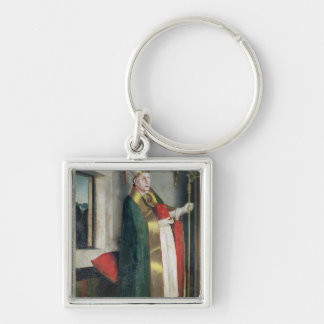 St. Augustine  c.1435 Silver-Colored Square Keychain