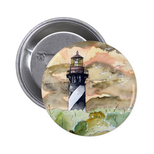 St Augustine Florida lighthouse painting Pinback Buttons