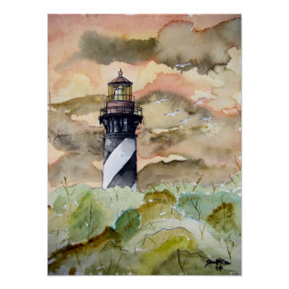 St Augustine Florida lighthouse painting Poster