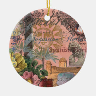 St. Augustine Florida Vintage Collage Ceramic Ornament