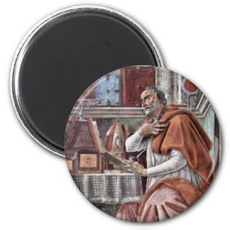 St. Augustine In Contemplative Prayer By Sandro Magnet
