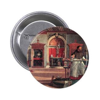 St. Augustine in His Study - Vittore Carpaccio 2 Inch Round Button