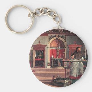 St. Augustine in His Study - Vittore Carpaccio Basic Round Button Keychain