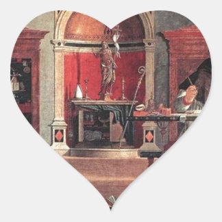 St. Augustine in His Study - Vittore Carpaccio Heart Sticker