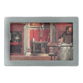 St. Augustine in His Study - Vittore Carpaccio Rectangular Belt Buckle