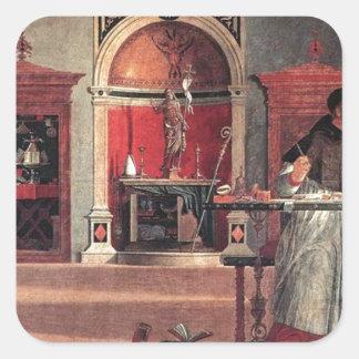 St. Augustine in His Study - Vittore Carpaccio Square Sticker