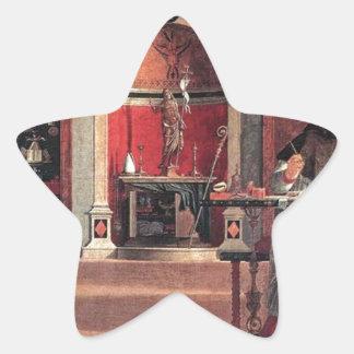 St. Augustine in His Study - Vittore Carpaccio Star Sticker