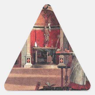 St. Augustine in His Study - Vittore Carpaccio Triangle Sticker
