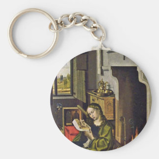 St. Barbara By Campin Robert (Best Quality) Basic Round Button Keychain