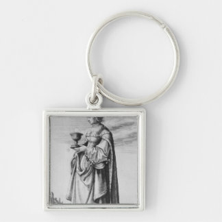 St. Barbara, etched by Wenceslaus Hollar, 1647 Silver-Colored Square Keychain