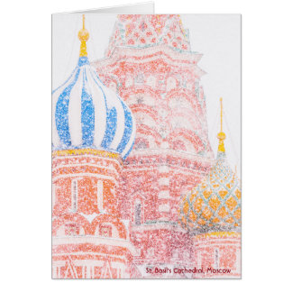 St Basil's Cathedral, Moscow, In Snowstorm Card