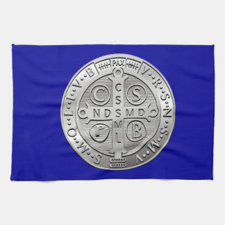 St Benedict Cross Medal Kitchen Towel