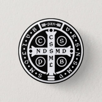 St. Benedict Medal Cross 1 Inch Round Button
