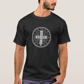 St. Benedict Medal on Dark Shirts