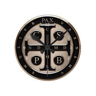 St. Benedict Medal Round Clock