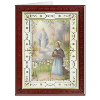 St. Bernadette Virgin Mary Angels in Grotto Card