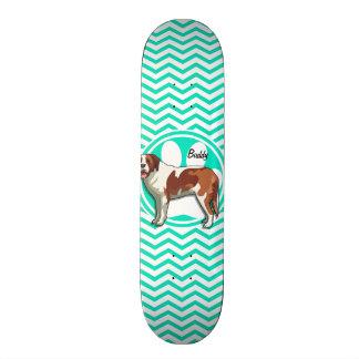 St Bernard ; Aqua Chevron vert Skateboards Personnalisés