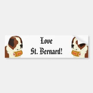 St Bernard avec un petit baril de vin - schéma Autocollant De Voiture