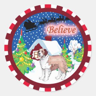st bernard believe classic round sticker