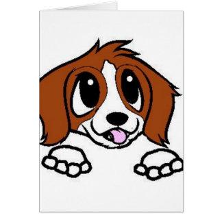 st bernard cartoon peeking red white card