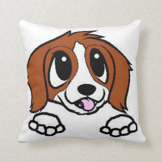 st bernard cartoon peeking red white throw pillow