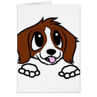 st bernard cartoon peeking rust white card
